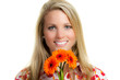 woman with orange gerbera
