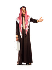 Young smiling arab with a aluminum case invites. Isolated on whi