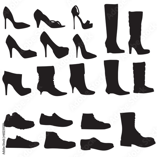 Collection of shoes silhouettes isolated on white background (Ve