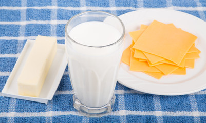 Dairy Products on Blue Placemat