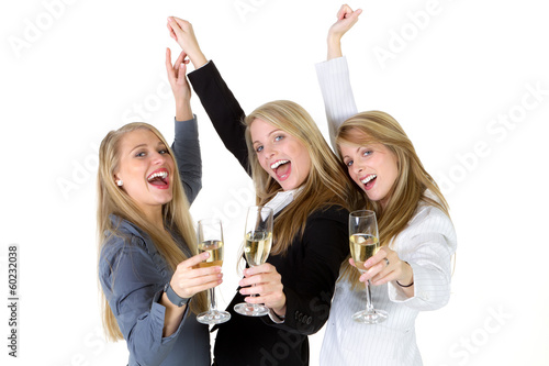 three women throwing a party