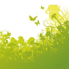 Jungvögel und Vogelhaus