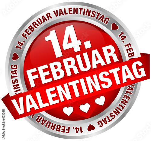 "Button Banner ""14. Februar Valentinstag"" rot/silber"