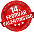 "Button Banner ""14. Februar Valentinstag"" rot"