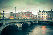Vintage style view of Dublin Ireland Grattan Bridge