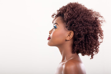 side view of african woman beauty