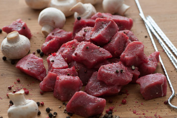 Raw Meat Cubes