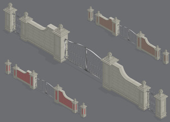 Vector isometric Gate portal