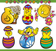easter chicks set cartoon illustration