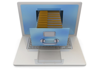 Computer and Archive Concept - 3D
