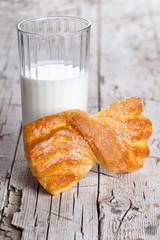 glass of milk and fresh baked bun