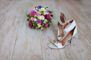 Wedding bouqet and shoes
