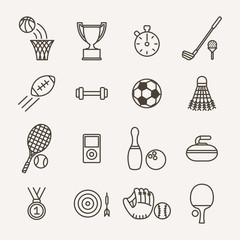 set of monochrome sport icons