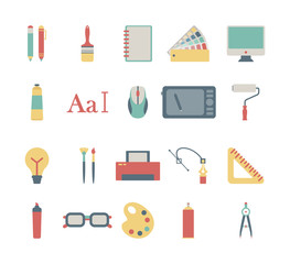 set of colorful graphic design icons