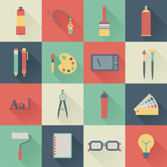 set of flat graphic design icons