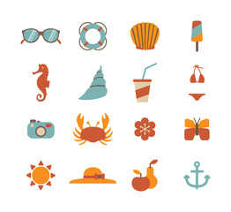 set of colorful summer icons