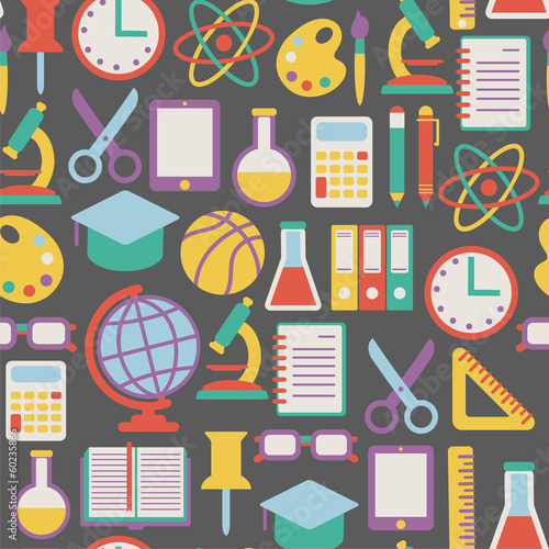 seamless background with colorful school icons
