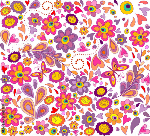 Wallpaper with funny flowers