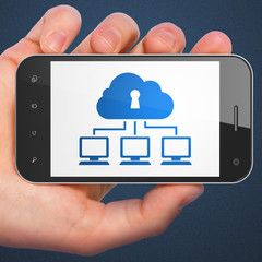 Cloud networking concept: Cloud Network on smartphone