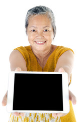 Asian senior woman with tablet