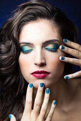 Sexy Beauty Girl with Red Lips and blue Nails
