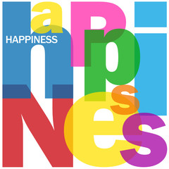 HAPPINESS Letter Collage (joy pleasure happiness serenity life)