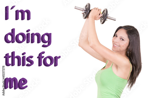 Black Woman Working Out with motivational sign