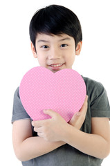 Asian Lovely Boy with heart giftbox
