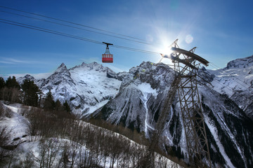 ropeway in snow mountain