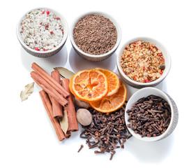 spices in a small ceramic cups