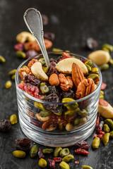 Mixede dried fruits in a glass - frutta secca