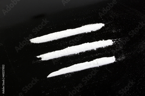cocaine powder in three lines