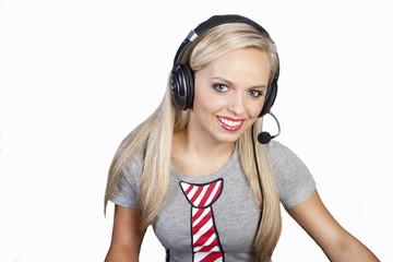 customer call center  operator with phone headset
