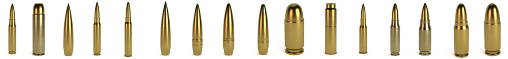 realistic 3d render of bullets