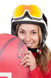 Portrait of female snowboarder holding her board, isolated on wh