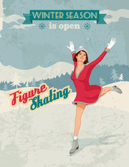 Figure skater girl vintage poster