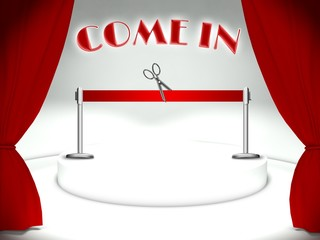 Come in on theater stage red ribbon and scissors