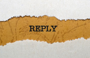 Reply text on torn paper