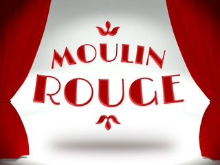 Moulin rouge on theater stage with red curtains