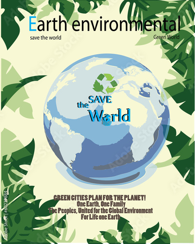 Save the world- Earth Concept with leaves