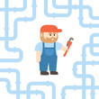 A Plumber Holding A Monkey Wrench In Flat Style