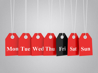 Black friday prommotions on red hanging labels