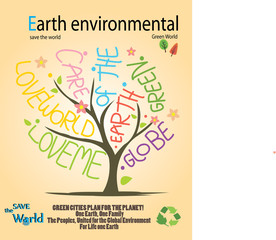 Save the world- Sign with tree on Green concepts