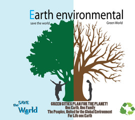 Save the world- Dry tree on globe