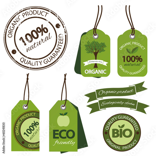 Set of bio, eco, organic labels, ribbon and stamp.