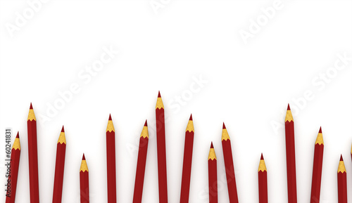 Many red pencils concept