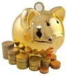 tirelire cochon doré et piles de pièces de monnaie