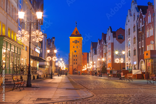 Old town of Elblag at night in Poland - 60242006