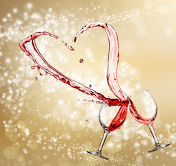 Heart splash from two glasses of red wine