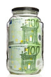 Euro banknotes in glass jar on white background
